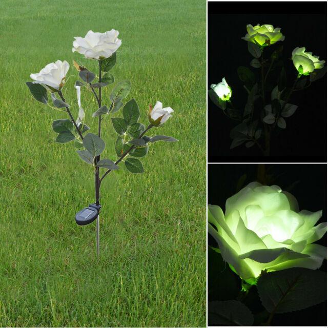 Solar Powered Lily Camellia Tulip Flower Garden Landscape Lamp Outdoor LED Light