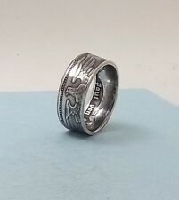 Third Reich WWII 1936 German 5 mark 90% silver coin ring size 10