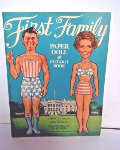 """First Family"" Paper Doll & CutOut Book Ronald & Nancy Reagan UNCUT 1981 Dell"