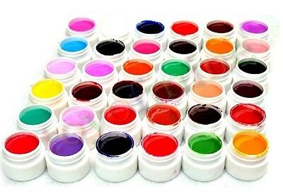 36 Pure Colors Pots Shiny Cover UV Gel Nail Art Tips Extension Manicure Decor