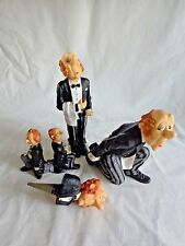 BUTLER FIGURINE Set of 4 Bottle Holder Stopper Wine Waiter Man Black Resin