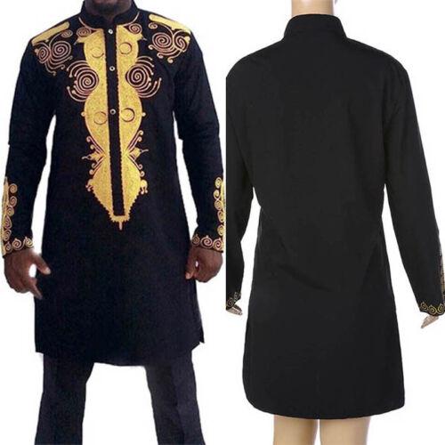 African Homme Classique Imprimer T-shirt Tribal Noir Tee succinct hippie Chemisier New