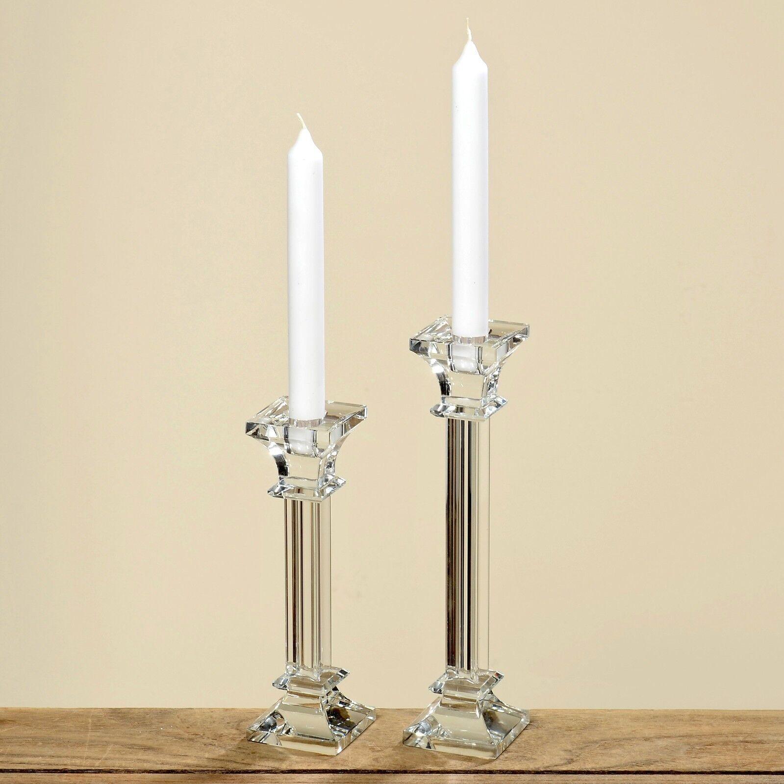 2er Set Kerzenleuchter Kerzenleuchter Kerzenleuchter Glas 2025 cm Kerzenständer Tischleuchter klar Kristall   Hohe Qualität und günstig  c7f0b3