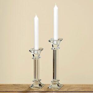 Kerzenleuchter-Glas-20cm-einflammig-Kerzenstaender-Tischleuchter-klar-Kristall