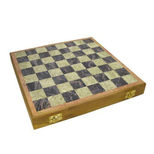 12  Soapstone Chess Set Hand Carved Pieces Storage Compartment Wooden Framed