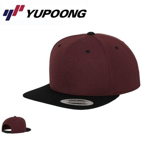 Yupoong Classic 2 Tone Snapback Cap Maroon Schwarz