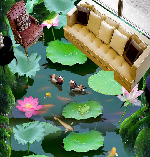 3D Grün Lotus Pond 85 Floor WallPaper Murals Wall Print Decal AJ WALL CA Lemon