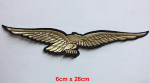Golden flying eagle badge clothes Iron on Sew on Embroidered Patch