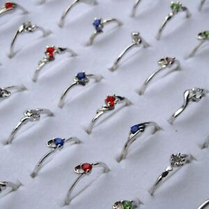 10-30-50x-Wholesale-Lot-Fashion-Jewelry-Crystal-CZ-Rhinestone-Silver-Plate-Rings