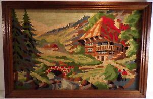 Très joli canevas vintage, chalet de montagne, belles couleurs vives, 56 cm