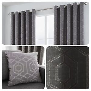 Curtina-CAMBERWELL-Graphite-Grey-Geometric-Jacquard-Eyelet-Curtains-amp-Cushions