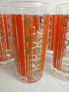 Mid-Century-Barware-12-Oz-High-Ball-Orange-and-Gold-Geometric-Patten-Set-6