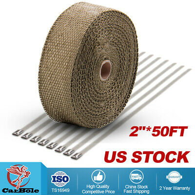 "DEI 1/"" inch x 50/' ft Roll Titanium Fiberglass Header Exhaust Heat Wrap High Temp"