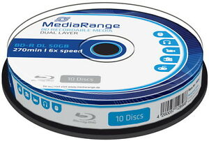 10-Mediarange-Rohlinge-Blu-ray-BD-R-Dual-Layer-50GB-6x-Spindel