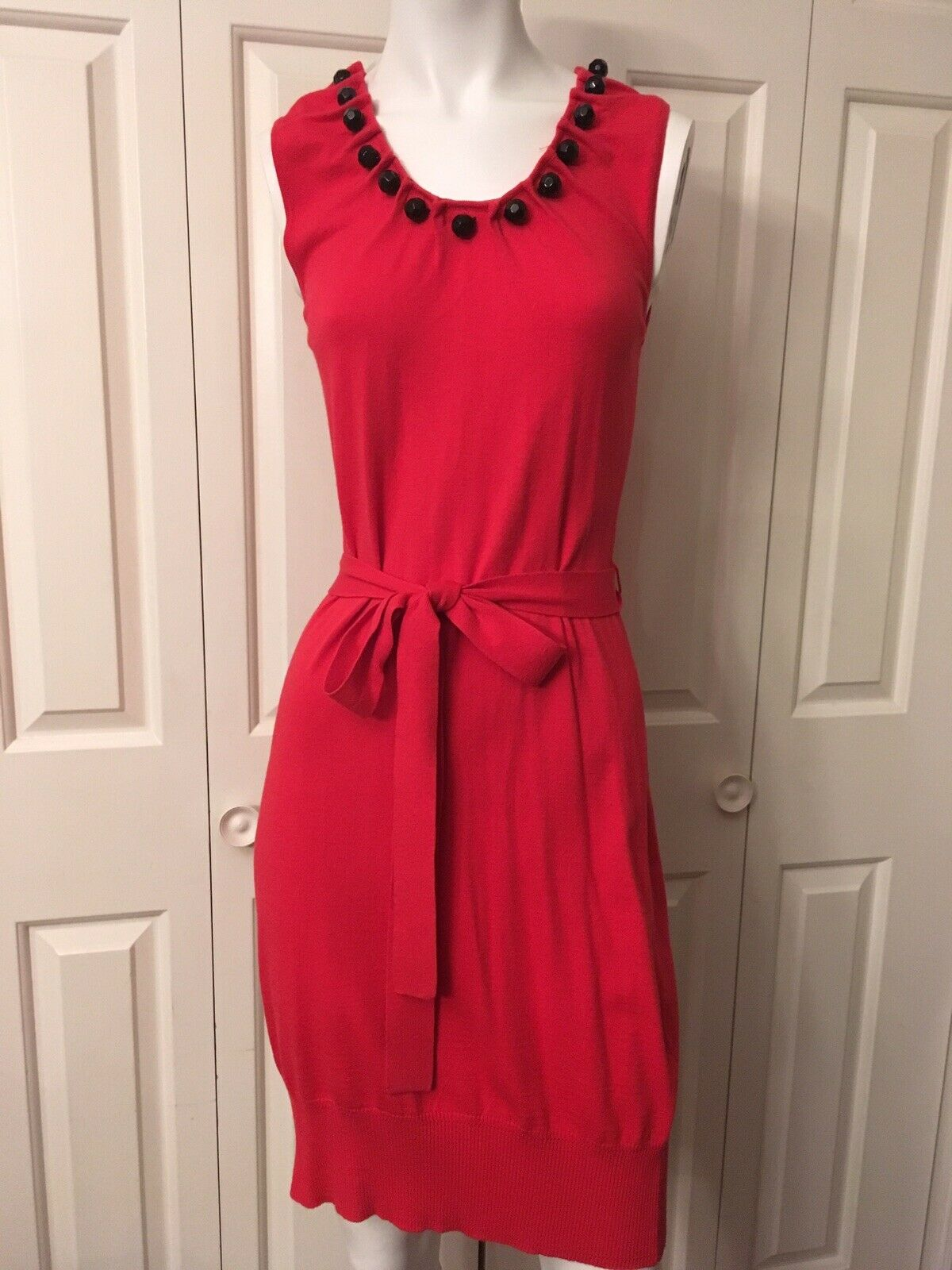 Milly rot Knit Dress Fitted Viscose Blend Round Faceted Buttons Sz S 0 2