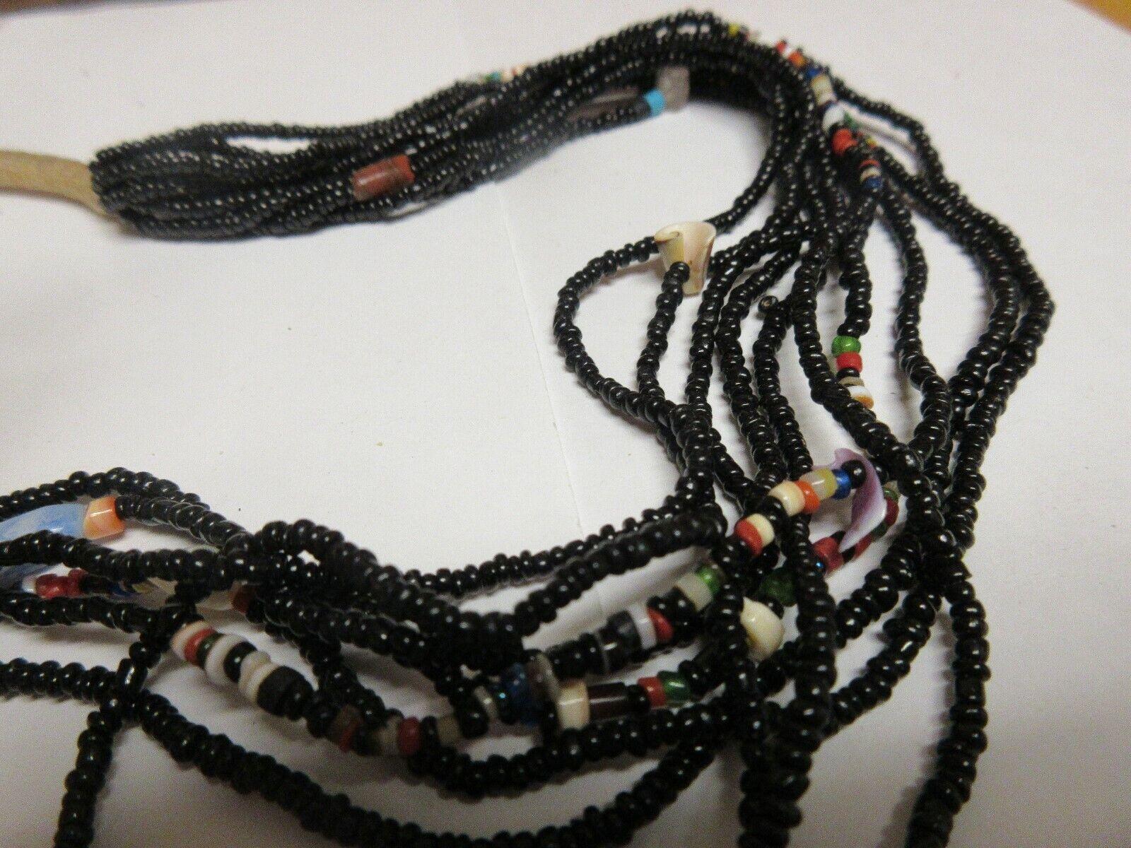 Costume Jewelry ,NECKLACE , Black ,10 Strand ,Multi Col