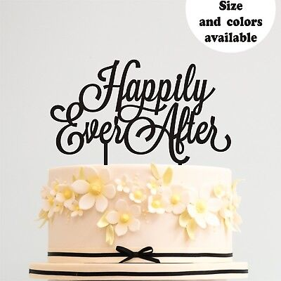 Happily Ever After Wedding Cake Topper Engagement Anniversary Decoration Gold