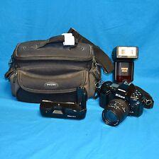 Nikon N90s 35mm SLR Film Camera Lens Flash Bag Battery Pack Accessories