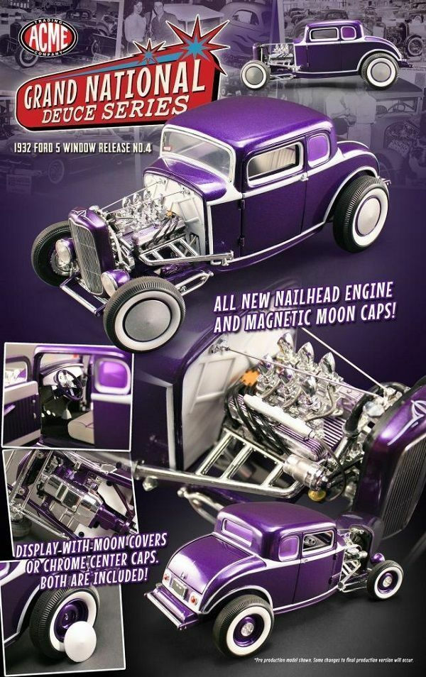 1 18 Gmp   Acme 1932 Ford 5 Window Coupe Magnetic Moon Caps Purple Lmtd Ed1 996