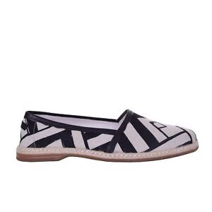 DOLCE /& GABBANA Striped Canvas Espadrilles Shoes MONDELLO Beige Black 06219