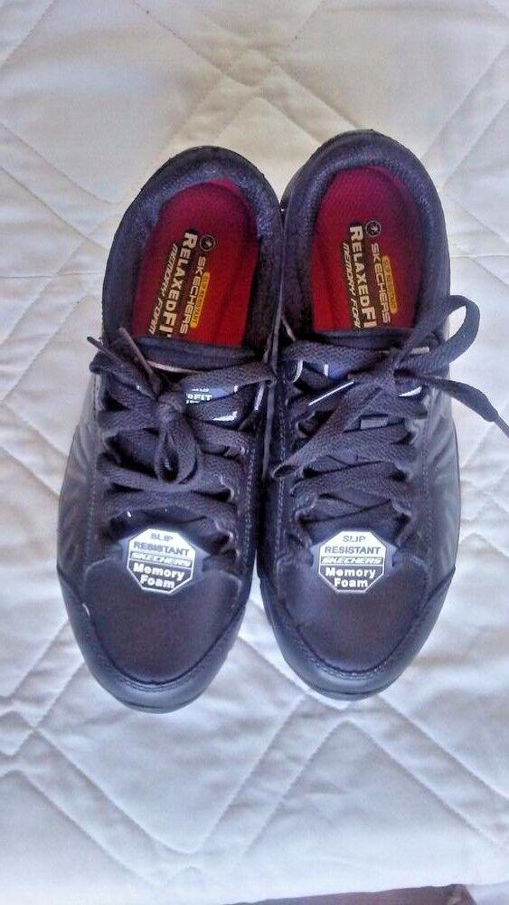 Skechers for Work Women's Eldred Slip Resistant Shoe Black 7 B(M) US NO TAX