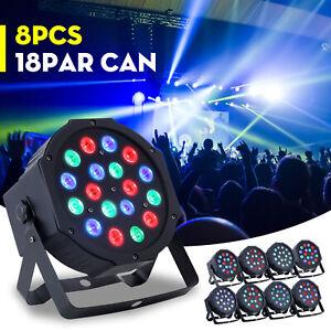 Details About Led Par Can Lights 8pcs 18 Led Rgb Dj Stage Dmx Lighting For Disco Party Wedding