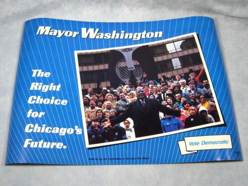 "NEW Vtg 1980/'s Chicago Mayor HAROLD WASHINGTON Re-Election Poster 14/"" X 20/"""