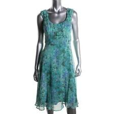 Connected 1526 Womens Blue Chiffon Sleeveless Casual Dress Petites 8P BHFO
