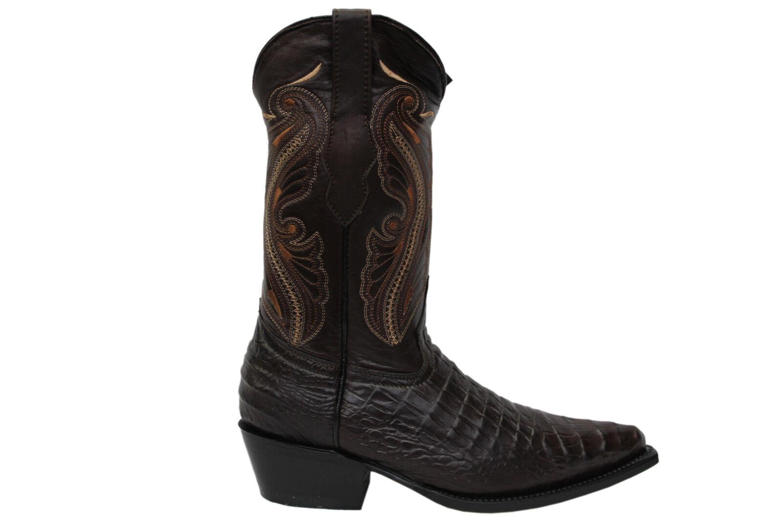 Nuevo De Molinos Para Mujer Indiana Marrón De Cuero Real Cowboy Western mitad de la pantorrilla Botas De Punta