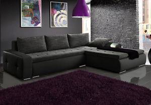 wohnlandschaft eckgarnitur sofa pirmo mit schlaffunktion und bettkasten top ebay. Black Bedroom Furniture Sets. Home Design Ideas