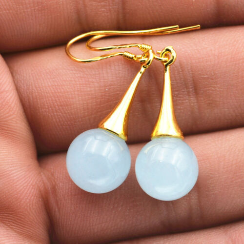 Brazil Sapphire 925 Silver Gold-plated//Dangle Earrings Beautiful Natural