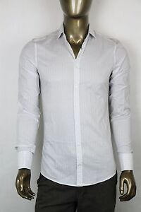 New-Gucci-Mens-Light-Gray-White-Striped-Slim-Fit-Shirt-French-Cuff-307649-1710