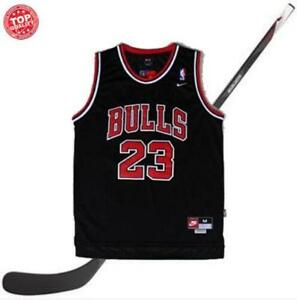 grossiste d0525 bde27 Détails sur Michael Jordan BULLS 23 Noir Chicago Bulls Maillot de  Basketball Homme s-2xl