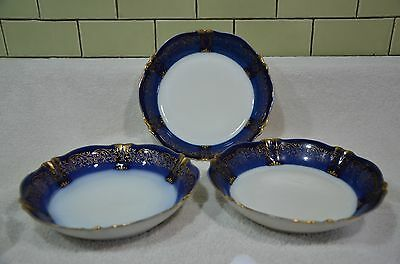qty 3 Haviland & Co. Limoges France cobalt blue + etched gold soup bowls c1900