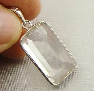 ROCK CRYSTAL QUARTZ Semi-Precious Gemstone & .925 Sterling Silver Pendant - E64