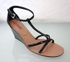 NEU PRADA Designer Leder Wedges Sandale Gr.37,5 Keilabsatz Schwarz Lackleder