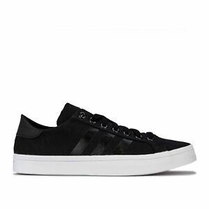 Mens-adidas-Originals-Court-Vantage-Trainers-In-Black-Breathable-Canvas-Upper