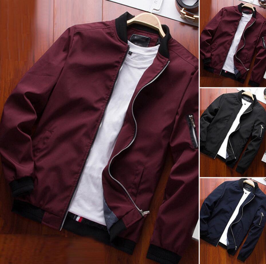 Men'S Zipper Business Jacket Fight Bomber Coat Thin Autumn Baseball Outwear CA 10