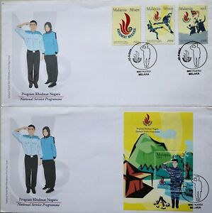 Malaysia FDC with MS & Stamps (22.05.2004) - National Service Programme