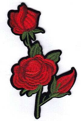 "9/"" Red Roses w//2 Buds Iron On Patch Flowers Rose Buds Roses"
