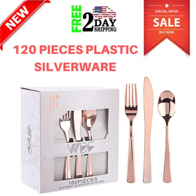 Rose Gold Plastic Silverware Set