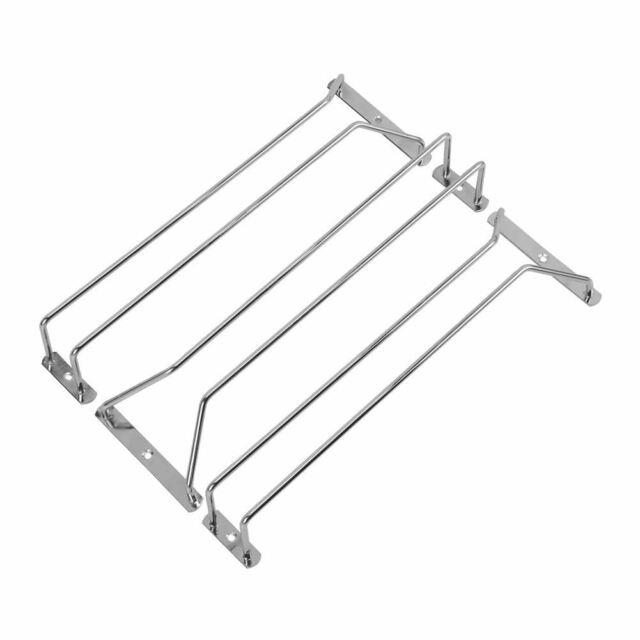3pcs Wine Rack Glass Holder Hanging Bar Hanger stainless steel Shelf with 6 A3E7