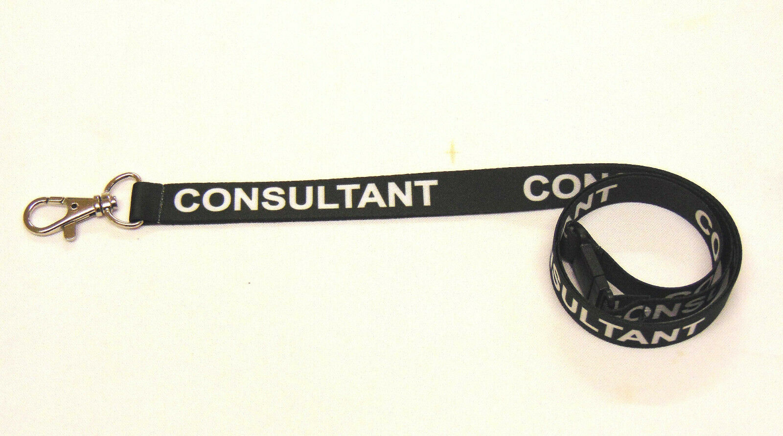 CONSULTANT lanyard black 15mm with safety breakaway for ID & keys. Free UK post.
