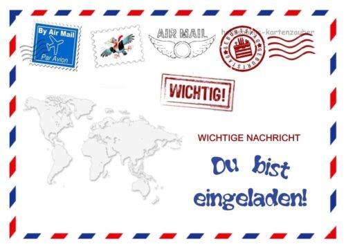 8 Einladungskarten Amerika Brief Geburtstag Kinder Kindergeburtstag Einladungen