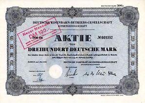Deutsche Eisenbahn Betriebs-Ges. AG Hameln histor. Aktie 1952 Niedersachsen Harz