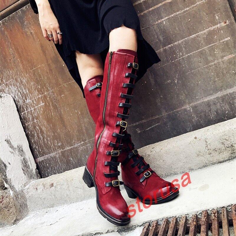 Womens Retro genuine Sheep Leather Buckle Strap Knee High Knigh Boots Block Heel