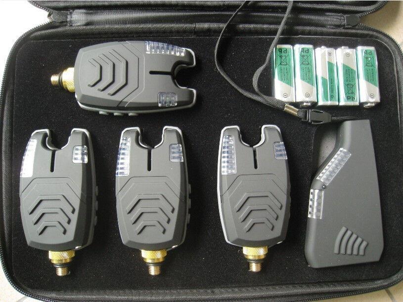 4 x Nuevo Set Inalámbrico Alarmas Bite Para Pesca De Carpa-prueba de rango, luz de noche