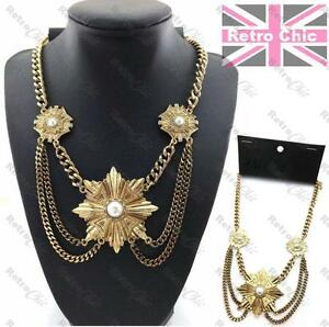 BIG-GATSBY-pearl-H-amp-M-NECKLACE-heavy-bling-curb-chain-BIB-vintage-gold-plt-COLLAR