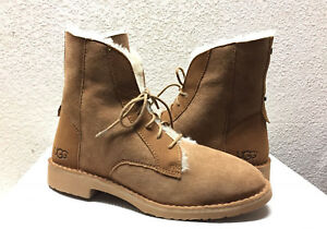 462453a2fb0 Details about UGG QUINCY CHESTNUT COMBAT-INSPIRED SHEEPSKIN BOOTS US 9 / EU  40 / UK 7.5 NEW