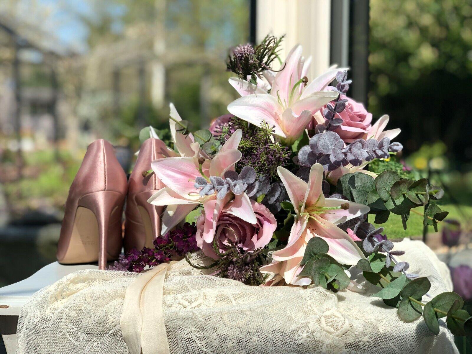 Silk Wedding Fleurs Rose Mariée Bouquet demoiselle d'honneur fait main libre bouton Trou